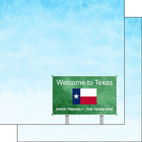 Scrapbook Customs - Welcome Road Sign Collection - 12 x 12 Double Sided Paper - Texas