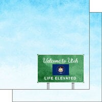 Scrapbook Customs - Welcome Road Sign Collection - 12 x 12 Double Sided Paper - Utah