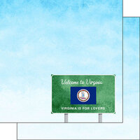 Scrapbook Customs - Welcome Road Sign Collection - 12 x 12 Double Sided Paper - Virginia