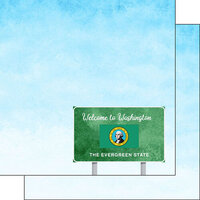 Scrapbook Customs - Welcome Road Sign Collection - 12 x 12 Double Sided Paper - Washington