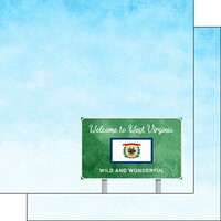 Scrapbook Customs - Welcome Road Sign Collection - 12 x 12 Double Sided Paper - West Virginia
