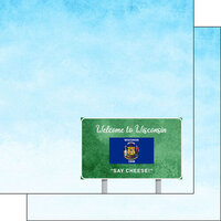 Scrapbook Customs - Welcome Road Sign Collection - 12 x 12 Double Sided Paper - Wisconsin