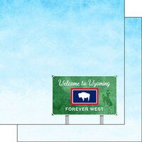 Scrapbook Customs - Welcome Road Sign Collection - 12 x 12 Double Sided Paper - Wyoming