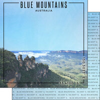 Scrapbook Customs - World Site Coordinates Collection - 12 x 12 Double Sided Paper - Australia - Blue Mountains