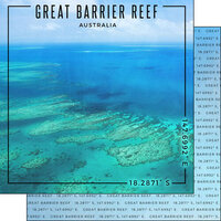 Scrapbook Customs - World Site Coordinates Collection - 12 x 12 Double Sided Paper - Australia - Great Barrier Reef