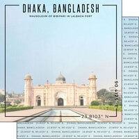 Scrapbook Customs - World Site Coordinates Collection - 12 x 12 Double Sided Paper - Bangladesh - Dhaka