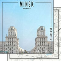 Scrapbook Customs - World Site Coordinates Collection - 12 x 12 Double Sided Paper - Belarus - Minsk