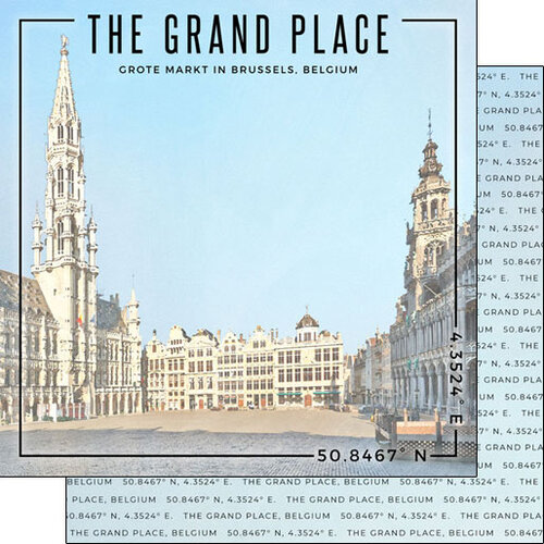Scrapbook Customs - World Site Coordinates Collection - 12 x 12 Double Sided Paper - Belgium - Grand Place