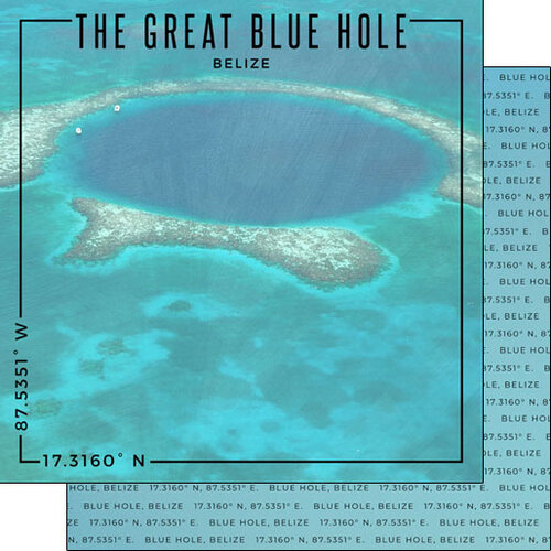Scrapbook Customs - World Site Coordinates Collection - 12 x 12 Double Sided Paper - Belize - Blue Hole