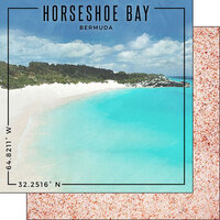 Scrapbook Customs - World Site Coordinates Collection - 12 x 12 Double Sided Paper - Bermuda - Horseshoe Bay