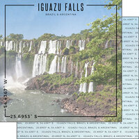 Scrapbook Customs - World Site Coordinates Collection - 12 x 12 Double Sided Paper - Brazil - Iguazu Falls