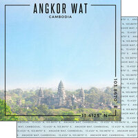 Scrapbook Customs - World Site Coordinates Collection - 12 x 12 Double Sided Paper - Cambodia - Angkor Wat