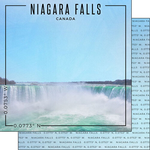 Scrapbook Customs - World Site Coordinates Collection - 12 x 12 Double Sided Paper - Canada - Niagara Falls