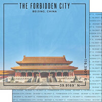 Scrapbook Customs - World Site Coordinates Collection - 12 x 12 Double Sided Paper - China - Forbidden City