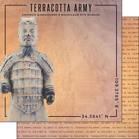 Scrapbook Customs - World Site Coordinates Collection - 12 x 12 Double Sided Paper - China - Terracotta Army