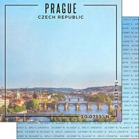 Scrapbook Customs - World Site Coordinates Collection - 12 x 12 Double Sided Paper - Czech Republic - Prague