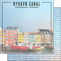 Scrapbook Customs - World Site Coordinates Collection - 12 x 12 Double Sided Paper - Denmark - Nyhavn Canal