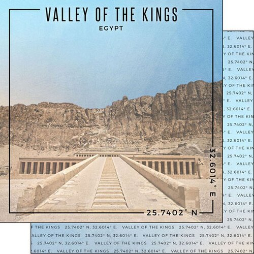 Scrapbook Customs - World Site Coordinates Collection - 12 x 12 Double Sided Paper - Egypt - Valley of the Kings