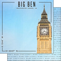 Scrapbook Customs - World Site Coordinates Collection - 12 x 12 Double Sided Paper - England - Big Ben