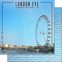 Scrapbook Customs - World Site Coordinates Collection - 12 x 12 Double Sided Paper - England - London Eye