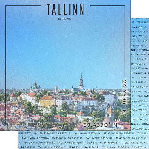 Scrapbook Customs - World Site Coordinates Collection - 12 x 12 Double Sided Paper - Estonia - Tallinn