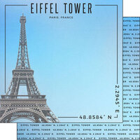 Scrapbook Customs - World Site Coordinates Collection - 12 x 12 Double Sided Paper - France - Eiffel Tower