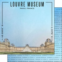 Scrapbook Customs - World Site Coordinates Collection - 12 x 12 Double Sided Paper - France - Louvre Museum