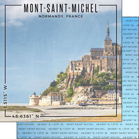 Scrapbook Customs - World Site Coordinates Collection - 12 x 12 Double Sided Paper - France - Mont Saint Michel