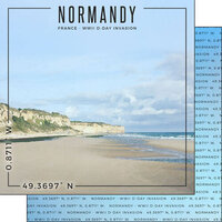 Scrapbook Customs - World Site Coordinates Collection - 12 x 12 Double Sided Paper - France - Normandy