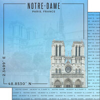 Scrapbook Customs - World Site Coordinates Collection - 12 x 12 Double Sided Paper - France - Notre Dame