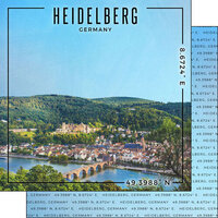 Scrapbook Customs - World Site Coordinates Collection - 12 x 12 Double Sided Paper - Germany - Heidelberg