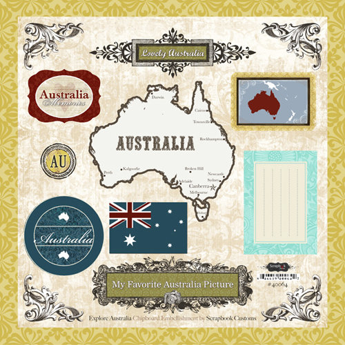 Scrapbook Customs - World Collection - 12 x 12 Laser Cut Chipboard Pieces - Australia
