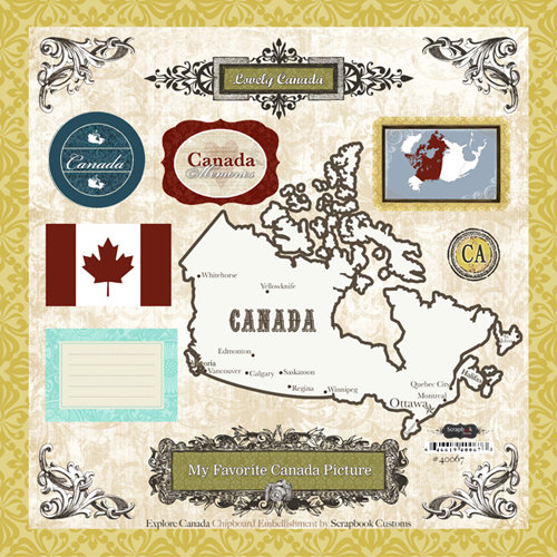 Scrapbook Customs - World Collection - 12 x 12 Laser Cut Chipboard Pieces - Canada