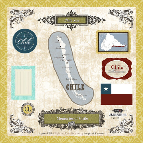 Scrapbook Customs - World Collection - 12 x 12 Laser Cut Chipboard Pieces - Chile