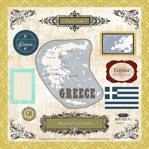 Scrapbook Customs - World Collection - 12 x 12 Laser Cut Chipboard Pieces - Greece