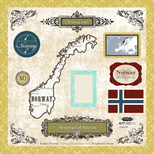 Scrapbook Customs - World Collection - 12 x 12 Laser Cut Chipboard Pieces - Norway