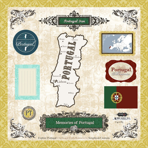 Scrapbook Customs - World Collection - 12 x 12 Laser Cut Chipboard Pieces - Portugal
