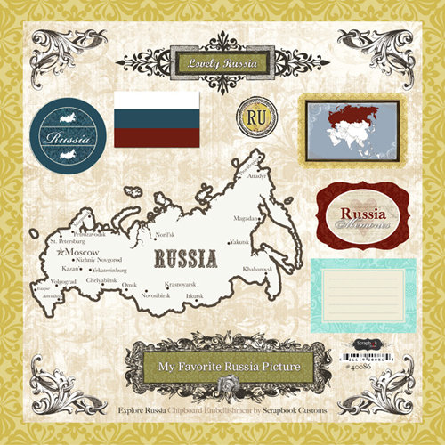 Scrapbook Customs - World Collection - 12 x 12 Laser Cut Chipboard Pieces - Russia