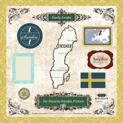 Scrapbook Customs - World Collection - 12 x 12 Laser Cut Chipboard Pieces - Sweden