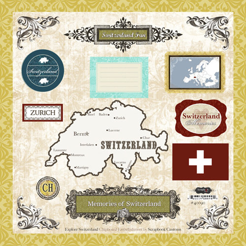 Scrapbook Customs - World Collection - 12 x 12 Laser Cut Chipboard Pieces - Switzerland