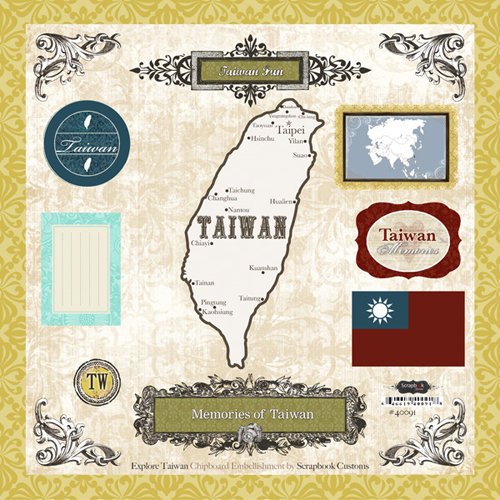 Scrapbook Customs - World Collection - 12 x 12 Laser Cut Chipboard Pieces - Taiwan
