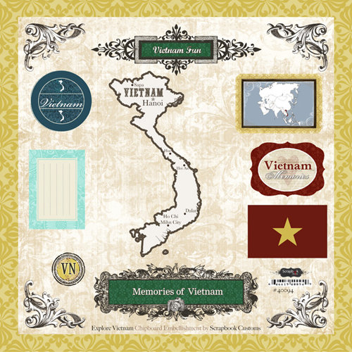 Scrapbook Customs - World Collection - 12 x 12 Laser Cut Chipboard Pieces - Vietnam