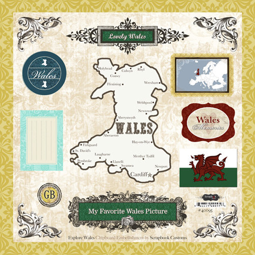 Scrapbook Customs - World Collection - 12 x 12 Laser Cut Chipboard Pieces - Wales