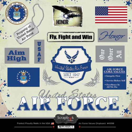 Scrapbook Customs - Military Collection - 12 x 12 Laser Cut Chipboard Pieces - Air Force Values