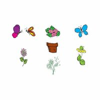 Scrapbook Customs - Rubber Stamp - Butterfly and Flower Set