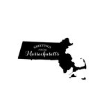 Scrapbook Customs - State Sightseeing Collection - Rubber Stamp - Greetings - Massachusetts