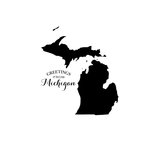 Scrapbook Customs - State Sightseeing Collection - Rubber Stamp - Greetings - Michigan