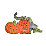 Scrapbook Customs - Halloween - Rubber Stamp - Meow