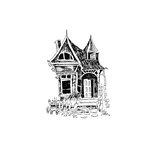 Scrapbook Customs - Halloween - Rubber Stamp - Haunted Cottage