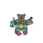 Scrapbook Customs - Rubber Stamp - Bear and Bunny Beach Boy Set